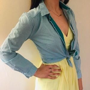 Forever 21 Teal Striped Collared Shirt